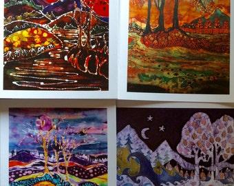 Woodland Landscape  batik cards set   -  Enchanted landscapes series   -   Set of four Magical blank Cards