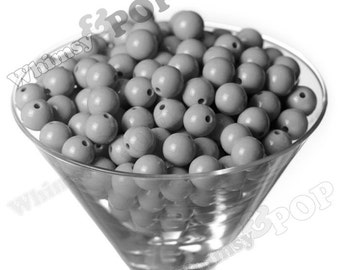 12mm - Gray Gumball Beads, 12mm Gumball Beads, 12mm Beads, Small Gumball Beads, Opaque Acrylic Round Beads, Bubble Gum Beads, 2mm Hole