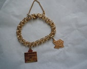 Vintage Double Rings Charm Bracelet with a 14K Gold Wedding Marriage License Charm and a 14k Gold State of Texas Charm Pendant