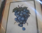 Grapes Cluster Counted Cross Stitch Kit: Comes with Fabric, Floss & Directions
