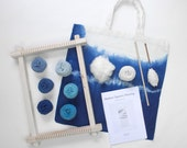 Indigo Eco Weaving Kit for beginners with natural dyed yarns and sustainable wooden loom