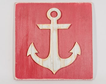 Anchor DistressedAntique Bead Board Wall Art, Coastal Decor