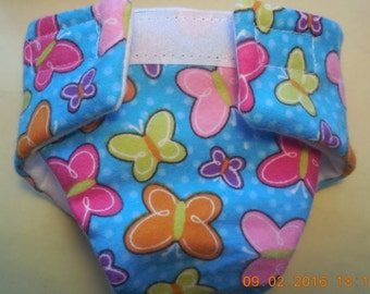 Doll diaper #3 READY TO SHIP adjustable butterfly garden cloth fits cabbage patch bitty baby fur real monkey stuffed animals and more