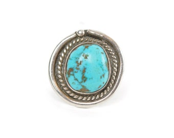 Native American Large Round Turquoise and Silver Ring