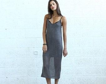 Summer SALE Knitted Tank Dress , Brown.