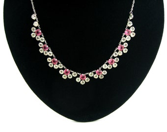 Pink Flower Necklace. Open Back Crystals, Choker. White Gold Filled Rope Chain. Vintage 1950s Jewelry. Wedding, Bridal