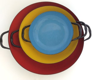 Enameled Mid Century Pans Red Yellow Blue