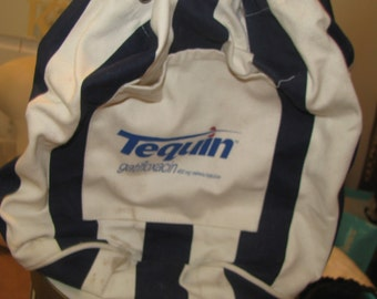 Tequin canvas striped duffle barrel drawstring bag - like new from 1990s pharmaceutical collectible