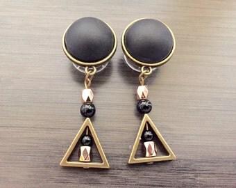 "9/16"" Dangle Plugs 1/2"" 00g Ear Plugs Geometric Triangle Modern Dangly Gauges, 000g 7/16 11mm Gauged Earrings Black Cap Mixed Metal Shades"