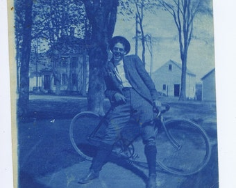 Antique Vintage Man on Bicycle Cyanotype Blue Photograph History American Transportaion