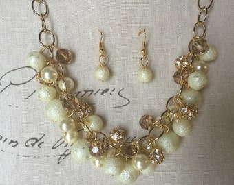 Ivory Pearl necklace, crystals and rhinestones, gold chain necklace, bridesmaid jewelry, chunky Pearl necklace
