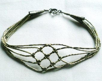 Vintage Southwest Multiple Strand Sterling Silver Beaded Bracelet