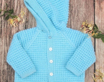 Little boy's girl's toddlers childs hand knitted blue cashmere cotton blend jacket cardigan coat with a pixie hood.