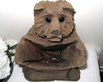 "Rustic Carved Wooden Bear With Glass Eyes / Vintage American Folk Art Cabin Decor / 12.5"" Bear Receptacle / Free US Shipping"