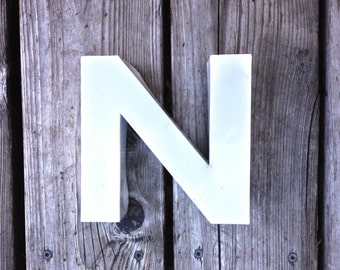 N - Vintage Metal Letter - 5.5 inch - reclaimed condition