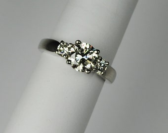 Classic 3 stone 1.52 ctw. Diamond and Platinum Ring
