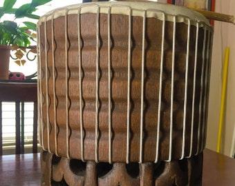 Traditional Hand Carved Hawaiian PAHU Drum Coconut Hula Polynesian