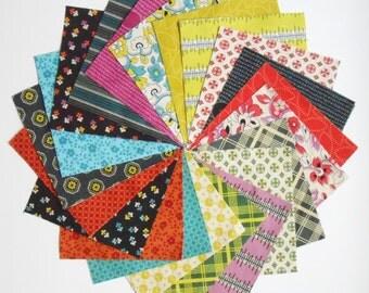 "42 - 5"" Quilt Charm Squares CHICOPEE Denyse Schmidt Retro Vintage Floral Free Spirit"