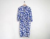 Vintage 1980s Dress | Blue Dress with Brushstroke Geometric Print | Blue Ascot Dress