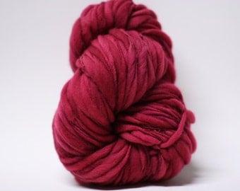 Merino Thick and Thin Yarn Handspun Wool Slub Hand Dyed tts(tm) Merino Bulky Mulberry 03