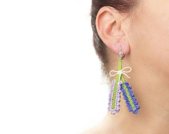 Earrings-Bohemian Handmade Crochet Dangle Cute Purple Lavender Bouquet Earrings, Flower Floral Earrings, Nature Textile Fiber Jewelry