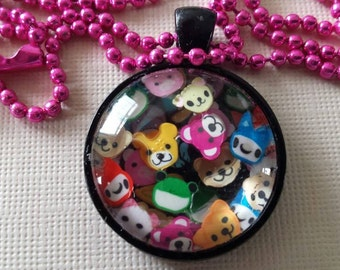Sale was 14 now 12uk Blacktone Cabochon Cute Cartoon Animal necklace on ball chain.