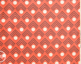 Framework Corners CANVAS in Coral, Ellen Baker for Kokka Fabrics, Cotton and Linen Canvas Fabric, JG-41900-902C