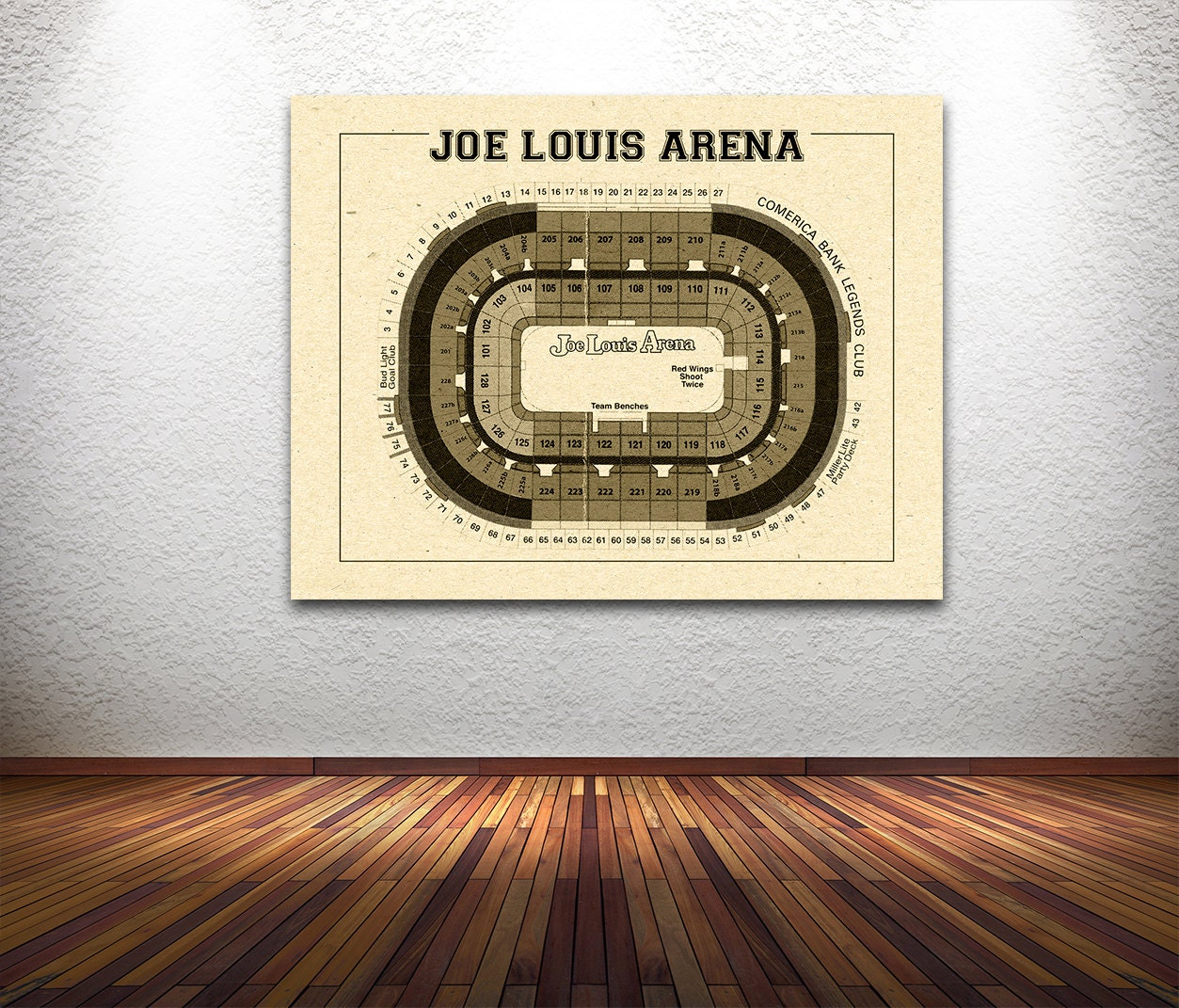 Vintage new detroit red wings joe louis arena on photo for 12x15 calculator