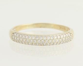 Cubic Zirconia Ring - 14k Yellow & White Gold CZ Wedding Anniversary Band N1497
