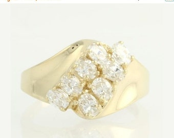 30% OFF CZ Bypass Cocktail Ring - 10k Yellow Gold Cubic Zirconias Fashion Estate F3791