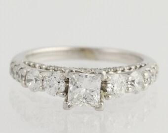 Diamond Engagement Ring - 14k White Gold Princess Cut 5 1/2 Genuine 1.50ctw Unique Engagement Ring L6735