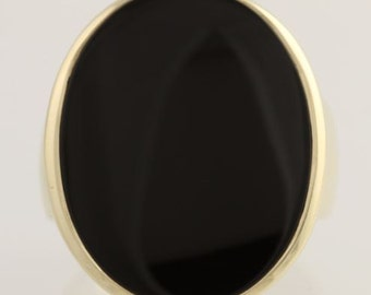 Onyx Cocktail Ring - 10k Yellow Gold Women's Size 11 1/4 - 11 1/2 Fine L4912
