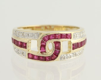 Synthetic Ruby and Diamond Ring - 14k Yellow & White Gold July 1.30ctw L8963