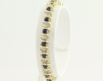 """Synthetic Sapphire and Diamond Bracelet 6"""" - 10k Yellow & White Gold 2.57ctw L9704"""