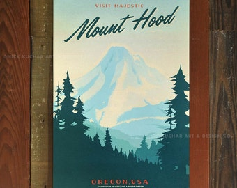 Mount Hood - 12x18 Retro Travel Print