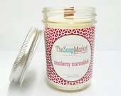 Candle - Soy Wax Candle, Wood Wick, Eco - Friendly,  Cranberry Marmalade Stocking Stuffers Christmas Gifts