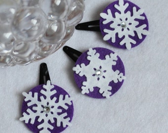 Christmas Hair Clip - Snowflake Hair Clip - Set of 3 Purple Hair Clips