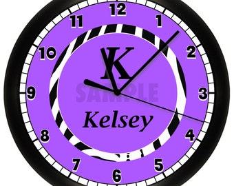Pink or Purple Monogrammed Wall Clock