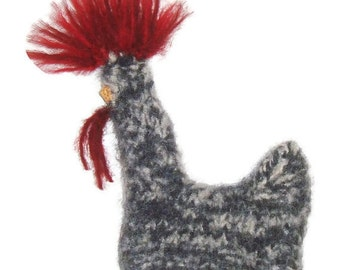 Cat Toy - Rosemary - Organic Catnip Stuffed  Whole Roaster Hand Knit Felted Chicken  - No Polyfil, Pure Herb Stuffing