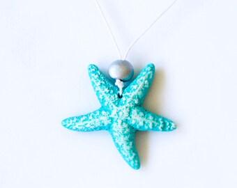 Aquamarine Starfish Necklace Beach Wedding / Delicate Jewelry / Ceramic Necklace / Resort Jewelry
