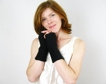 Black Fingerless Gloves Long Fingerless Arm Warmers Driving Gloves