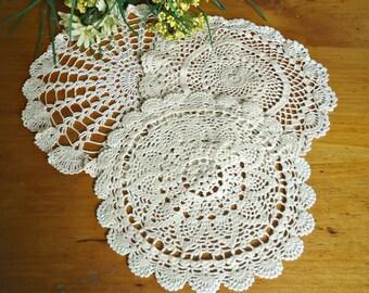 3 Doilies Doily Crocheted Doily Ecru Vintage Doilies  D8