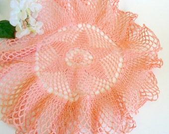 Vintage Doily Crocheted Doily Salmon Handmade  Doilies  D31