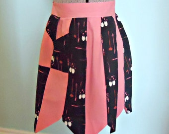 Apron Vintage Aprons Half Apron Retro Pink Black  1950's