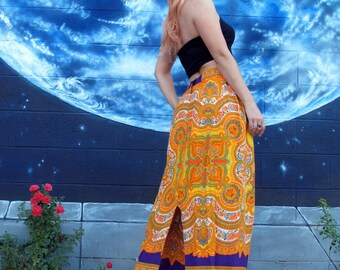 1960s psychedelic hippie SKIRT spirals mandala maxi skirt festival vintage // size: M / S
