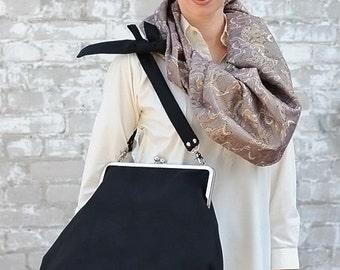 Clutch Black bag/metal frame bag/standuot black bag/owersize bag/shoulder metal frame bag/cros body bag/kiss lock bag