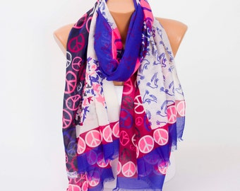 Scarf SALE Peace themed  print scarf,regular long scarf