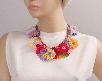 Bip necklace,Crochet bead work necklace ,oya necklace ,turkish oya necklace