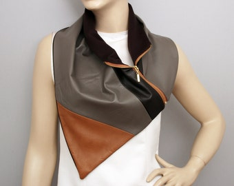 Genuine  leather neckwarmer with zipper and  lining ,man  NECKWARMER  with snaps , men scarf