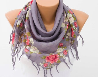 Fringed  scarf ,square tassel scarf , guipure scarf, flowered ,woman scarf,white ,floral,grey